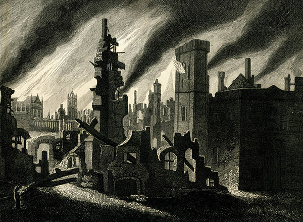 Detail from an engraving depicting the Fire of London, by James Stow, produced between 1792-1823