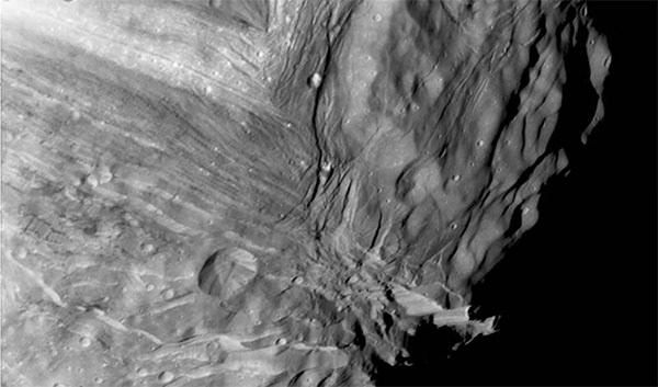 Miranda, the fifth largest and innermost moon orbiting Uranus