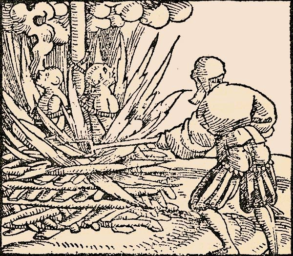 A 16th century woodcut depicting the burning to death of people accused of poisoning wells with the plague.