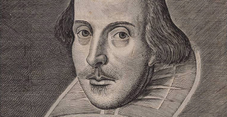 William Shakespeare portrait from the front cover of a 1623 folio of his works